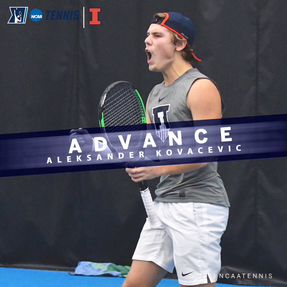 On to the Semifinals!  Congrats to Aleksander Kovacevic of @IlliniMTennis on winning his @NCAATennis Singles Quarterfinal match, 6-7, 7-6, 6-3. #B1GMTennis