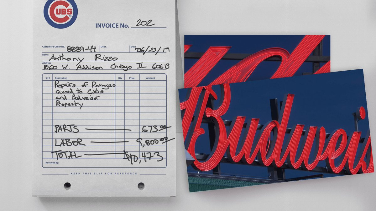 A home run turns into an invoice.  An invoice turns into a donation.  Thanks, @budweiserusa! #TeamRizzo