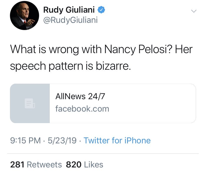 .@RudyGiuliani has apparently deleted this tweet in which he shared an obviously slowed down video of Nancy Pelosi