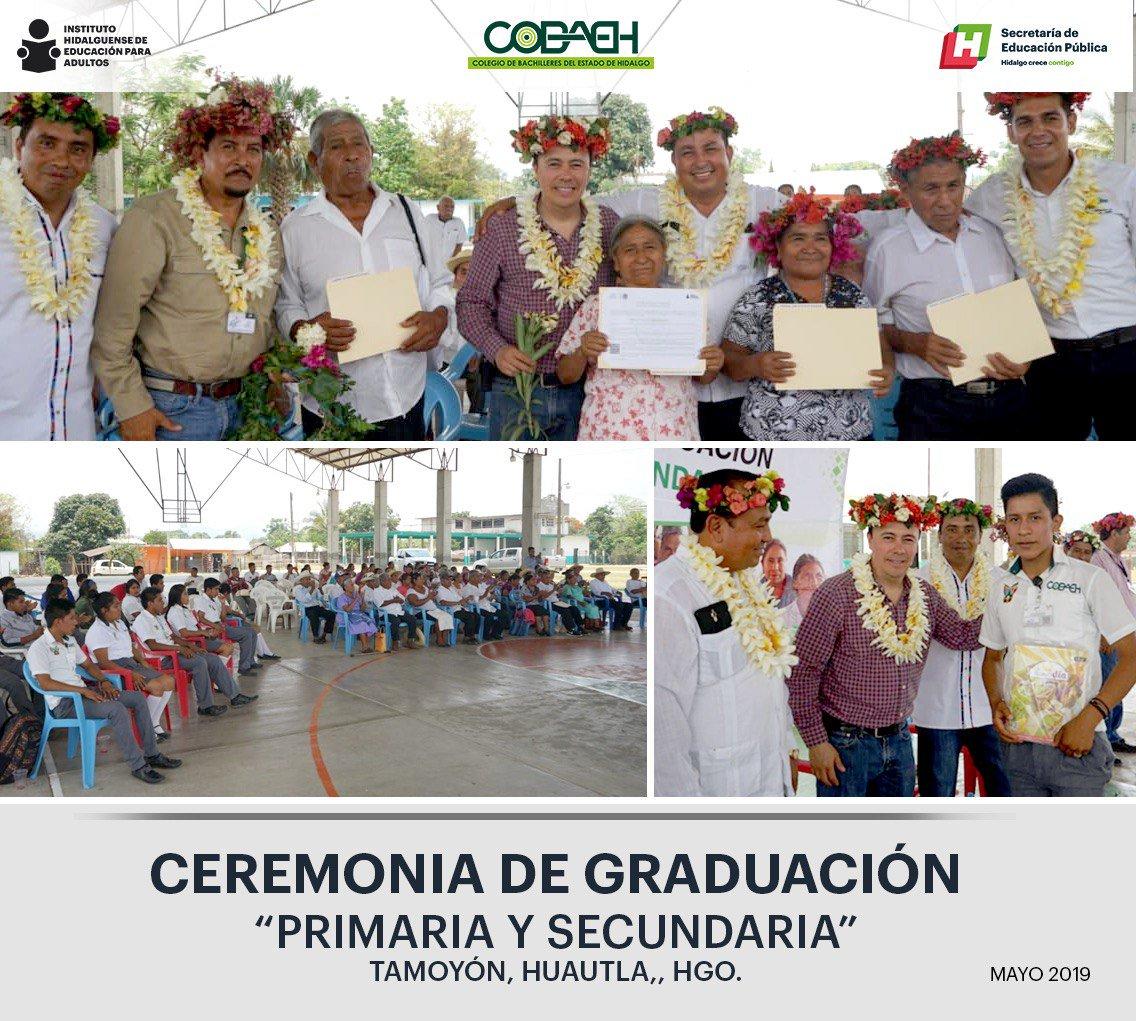 @iheaoficial Ceremonia de graduación primaria y secundaria plantel @COBAEH_HGO Tamoyón, Huautla, Hgo.