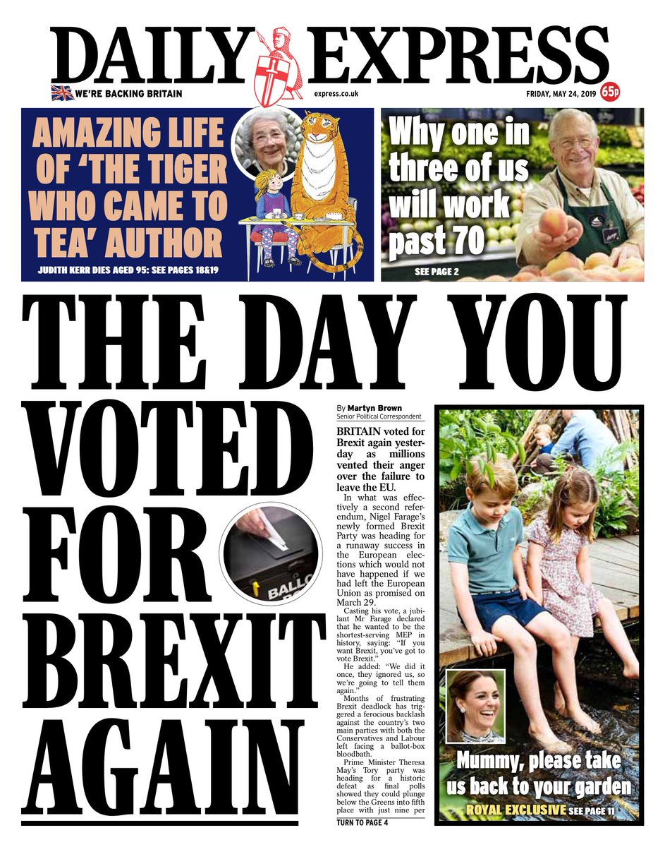 """Friday's Express: """"The day you voted for Brexit again""""  #BBCPapers #tomorrowspaperstoday (via @hendopolis)"""
