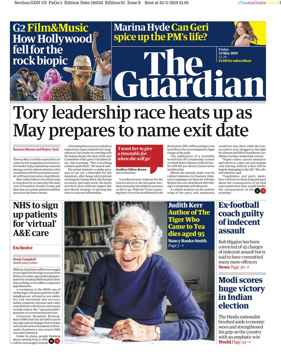 """Friday's Guardian: """"Tory leadership race heats up as May prepares to name exit date""""  #BBCPapers #tomorrowspaperstoday (via @hendopolis)"""