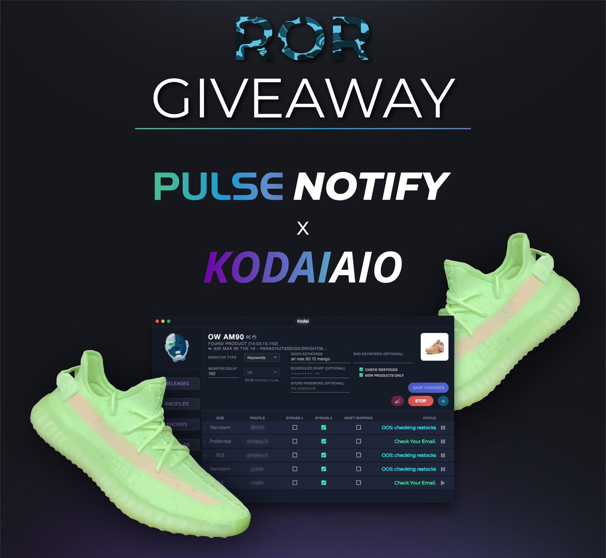 GIVEAWAY!   We&#39;re teaming up with @KodaiAIO and @PulseNotify to give away the ultimate essentials to reselling!   Prizes: - 1x YEEZY 350 &quot;GITD&quot;!  - 3x PN Memberships! - 1x Kodai Renewal Copy!  Enter By: - RT this Tweet. - Follow @KodaiAIO @PulseNotify @RetailorResell<br>http://pic.twitter.com/aRJEVSSnBy