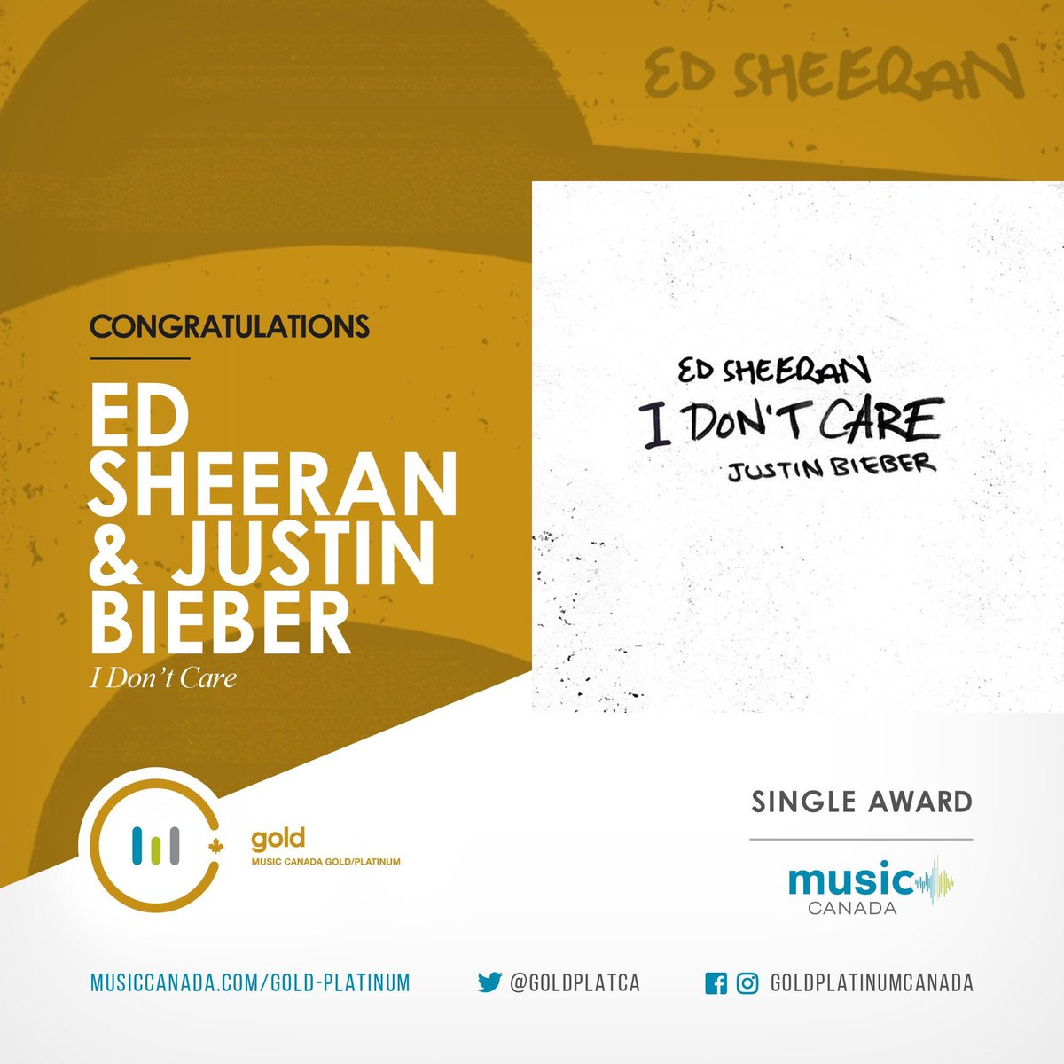 """Ed Sheeran and Justin Bieber's collaboration, """"I Don't Care"""" has been officially certified Gold in Canada! Congratulations! <br>http://pic.twitter.com/nKWvUsa51g"""