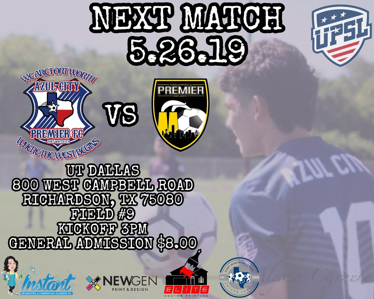 Good afternoon Azul City Family!  We will be visiting @ffpremier this Sunday at UT Dallas. General admission will be $8.00. Come and show your support! #losazules #youth #veteranowned #fortworth #texas #upsl #fútbol #soccer #family #community #club #oftenimitated #neverduplicated