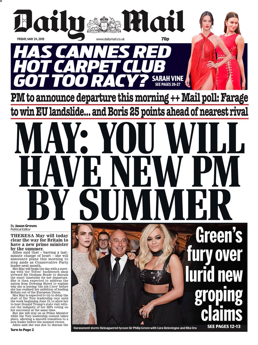 """Friday's Mail: """"May: You will have new PM by summer""""  #BBCPapers #tomorrowspaperstoday (via @hendopolis)"""