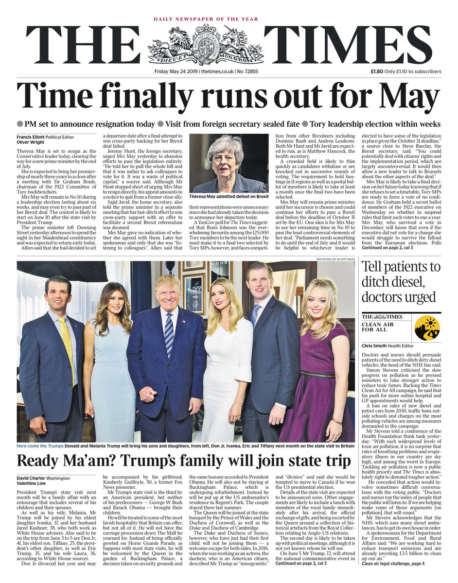 """Friday's Times: """"Time finally runs out for May""""  #BBCPapers #tomorrowspaperstoday (via @hendopolis)"""