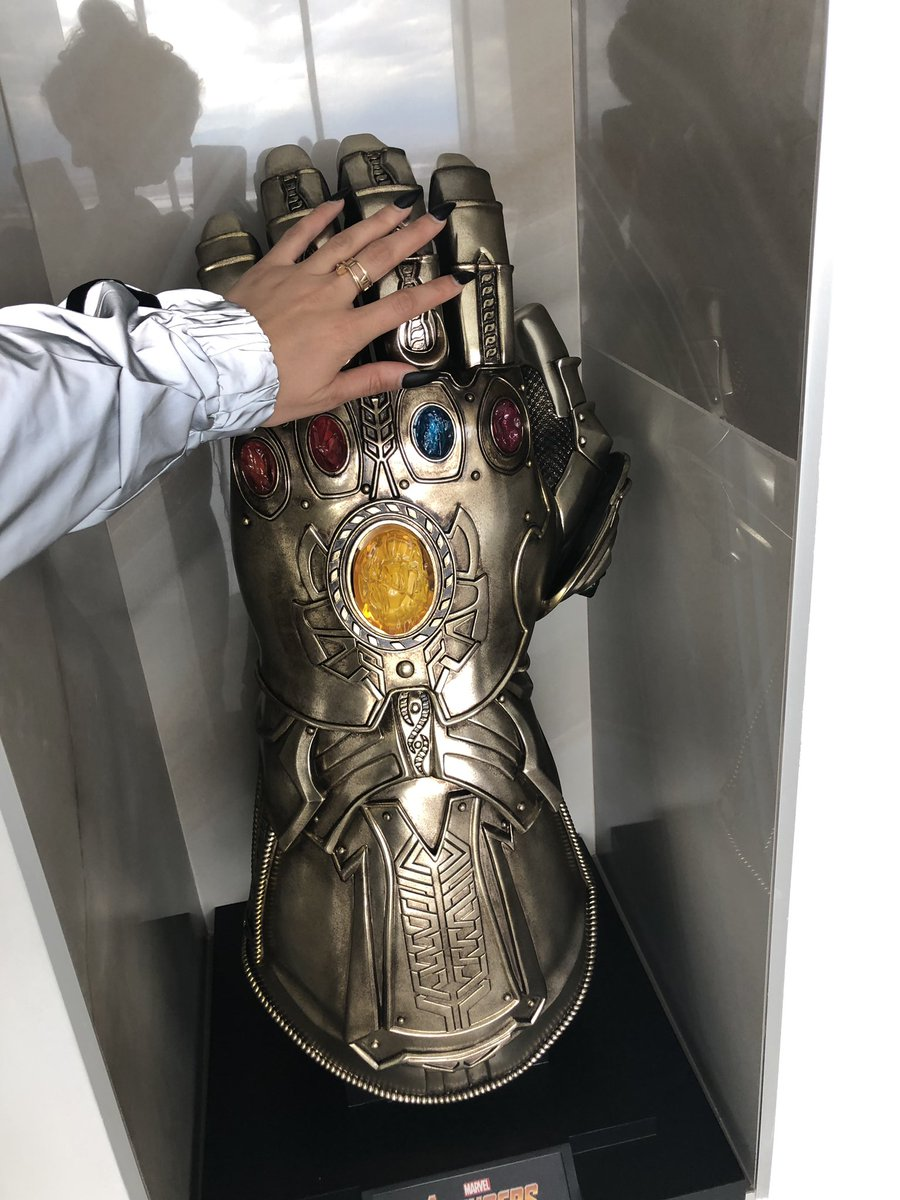 Human hand comparison to a life size infinity gauntlet