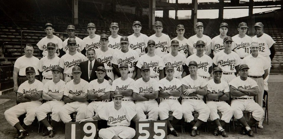 1955 Brooklyn #Dodgers (98-55, WS champs) - Roy Campanella, Gil Hodges, Pee Wee Reese, Jackie Robinson, Duke Snider, Don Newcombe, Sandy Koufax @DodgerFanWeekly<br>http://pic.twitter.com/s4x7pFpuMs
