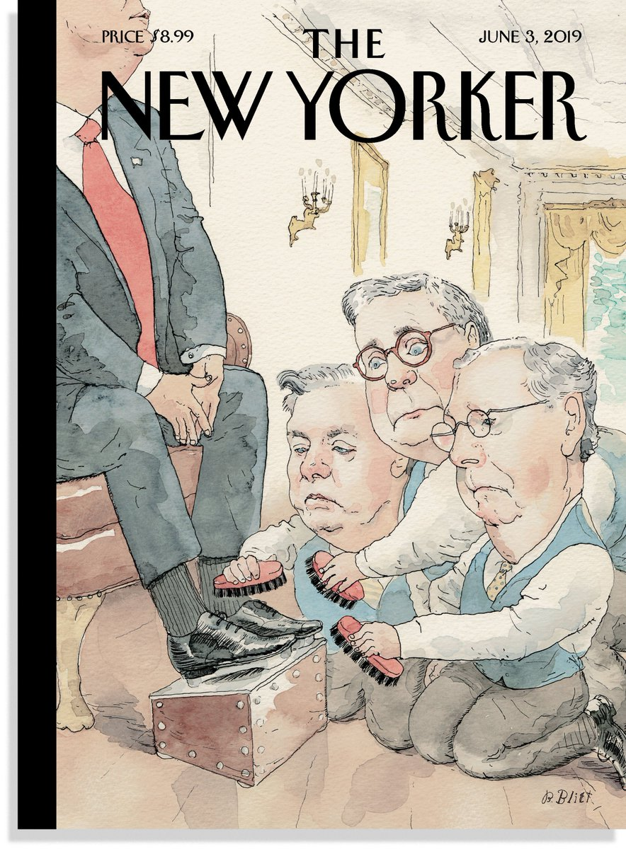 """Cover of the new @NewYorker by Barry Blitt is titled """"The Shining"""""""
