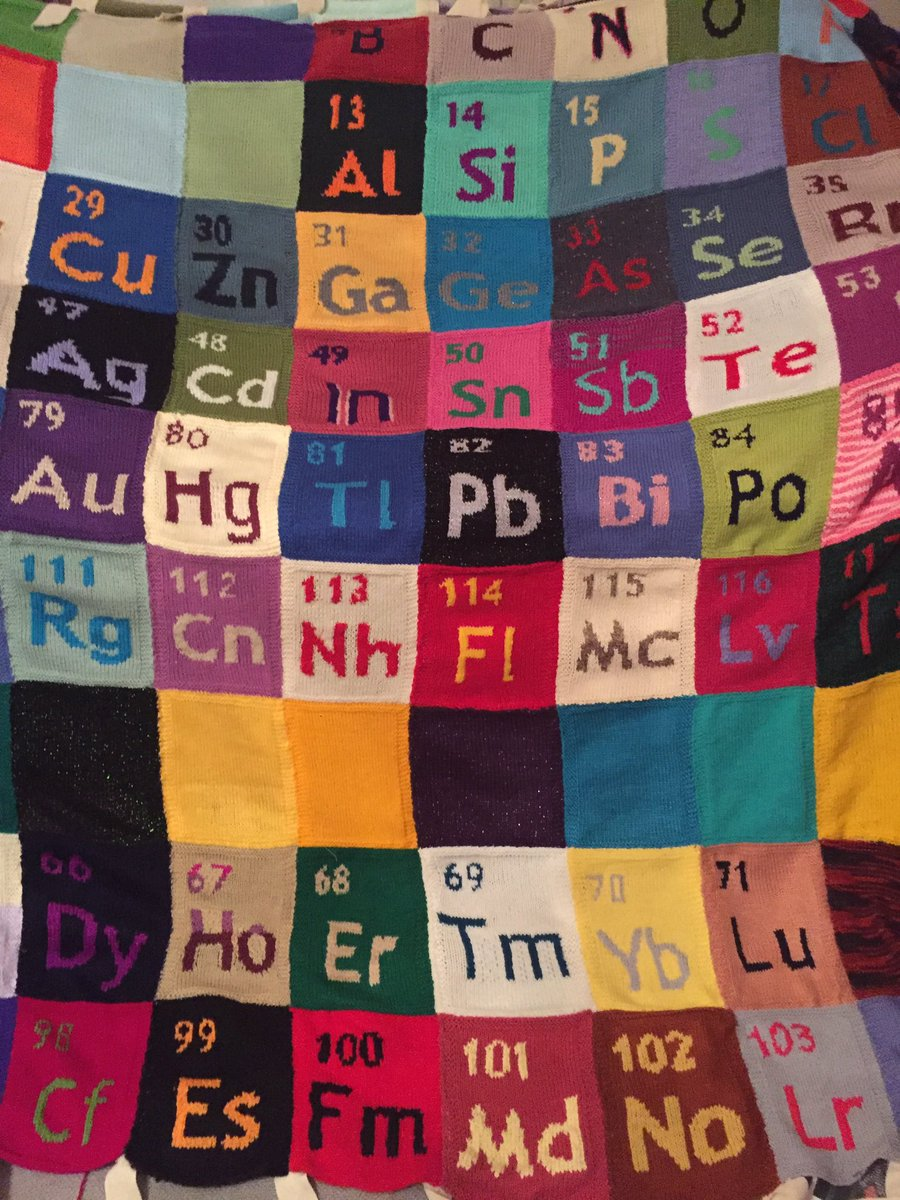 Look at this beast! A little bit of sewing up and hanging to do, ready for #mayfest19 and #iypt2019.  Led by Chemistry @aberdeenuni & thanks to volunteers from round the world we are going to do several - get in touch if you want to join in.  Knitfest2019@gmail.com @RoySocChem https://t.co/OHInolO6Gh