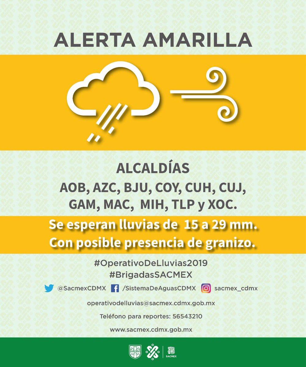 #SACMEXInforma se esperan lluvias de 15 a 29 mm con posible presencia de granizo. Sigue nuestras recomendaciones y mantente atento a nuestros medios de información. #OperativoDeLluvias2019