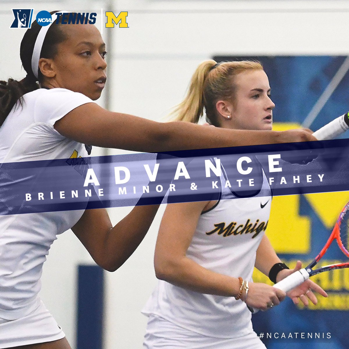 Congrats to @UMichWTennis doubles team of Kate Fahey & Brienne Minor on advancing the the @NCAATennis Doubles Semifinals with a 6-2, 3-6 (10-8) win over a Georgia pair in the Quarterfinals in Orlando. #B1GWTennis