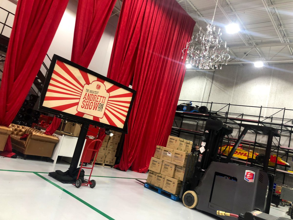 Chandeliers in a race shop?? YES! The build for our annual The Night Before party is underway. #AllAndretti #TNB4 #ThisIsMay