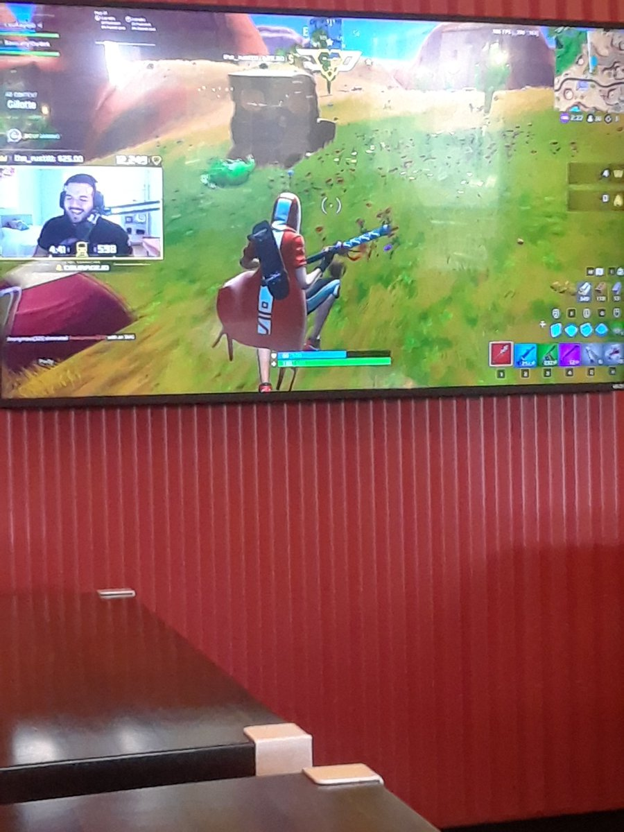 This restaurant I&#39;m in is playing @CouRageJD stream on their tv.@BasicallyIDoWrk  @FortniteGame <br>http://pic.twitter.com/GdePBhe2dB