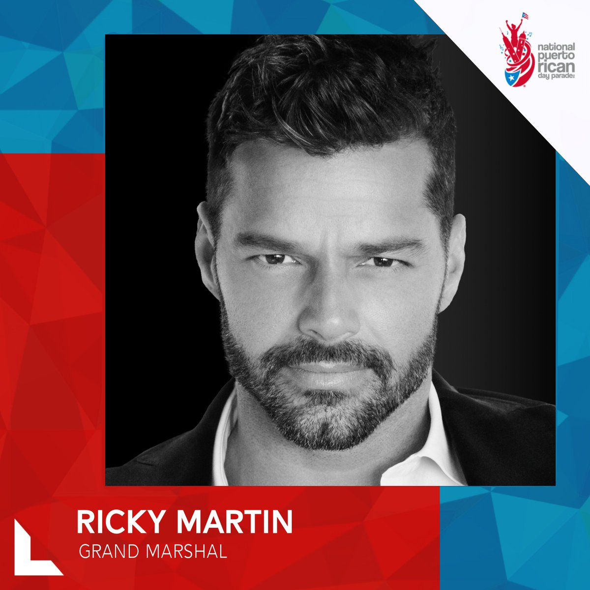 We proudly announce this year's Grand Marshal @ricky_martin! Get ready for an amazing time celebrating our culture & pride honoring Loíza and all the talent PR has to offer in the areas of entertainment, philanthropy, sports, education, arts & more. #PRParade #OrgulloBoricua