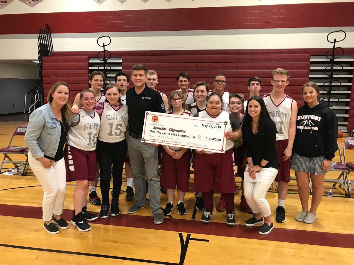 Great day for Unified Basketball. Donated $1,500 to Special Olympics and won their game against Grand Island 47-41. Playoffs begin next Tuesday at Starpoint vs Akron.