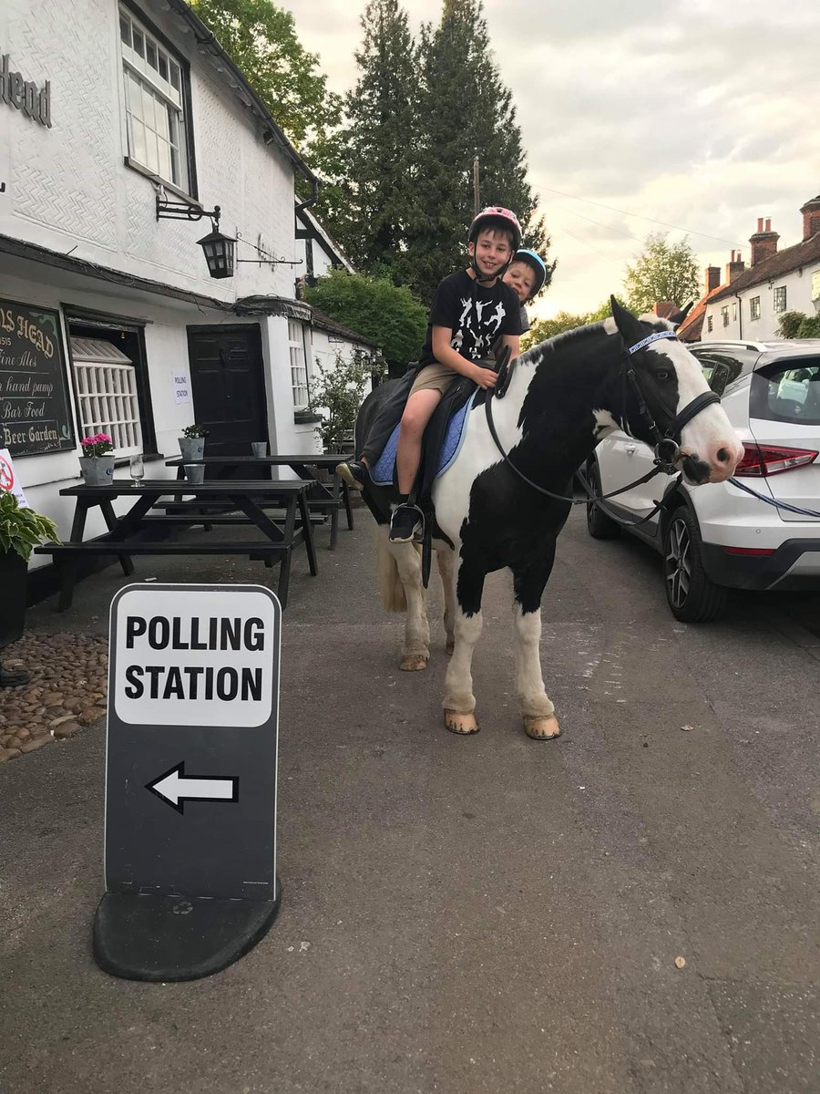 Probably our most favourite picture of the day Jerry the pony enjoying a trip around Harlow and visiting a polling station in Old Harlow #poniesatpollingstations #harlow #EUelections2019
