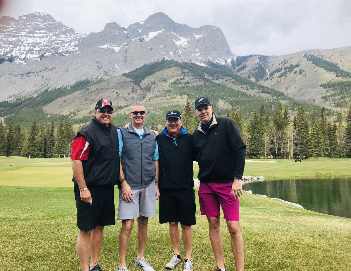 Great day celebrating my good friend Gord's birthday with John and Tom!  Thanks for an awesome day @KananaskisGolf #birdie #goodfriends #golf<br>http://pic.twitter.com/K6sEzvP3vU