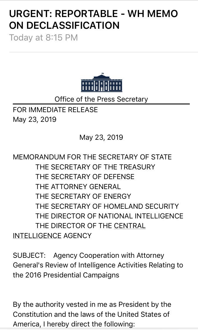 BREAKING:  @realDonaldTrump issues memo on declassifying materials related to intel probes into 2016 campaigns:<br>http://pic.twitter.com/QP13wYMGTu
