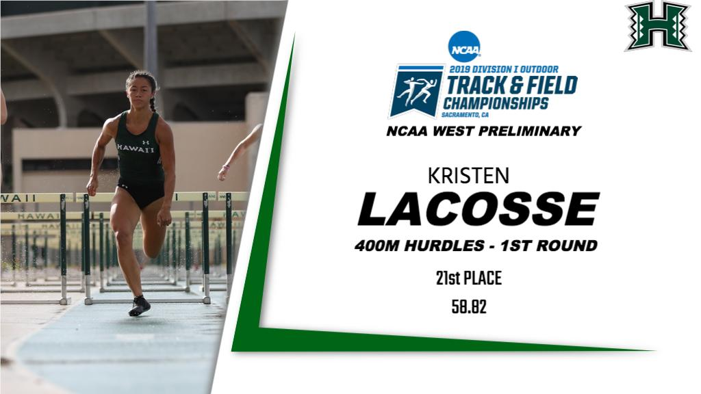 With a personal record time of 58.82 in the NCAA West Preliminary First Round, Kristen LaCosse earned a spot in the Friday&#39;s quarterfinals at Hornet Stadium in Sacramento  #HawaiiTF | #GoBows | #NCAATF<br>http://pic.twitter.com/iFaric29tH
