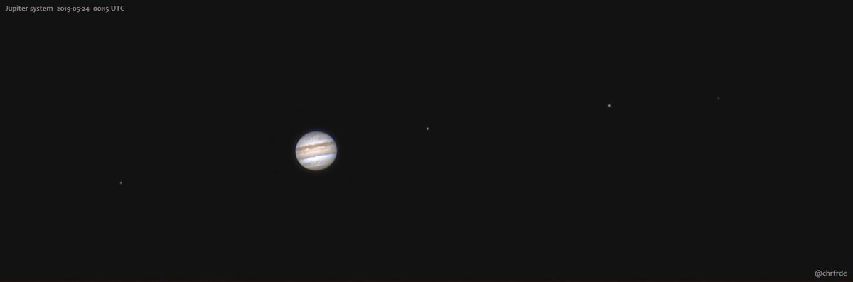 Tonight&#39;s #Jupiter system with four moons. 250 x 30 ms RGB in Celestron 8&quot; at f/10.<br>http://pic.twitter.com/gzBi9So8fN