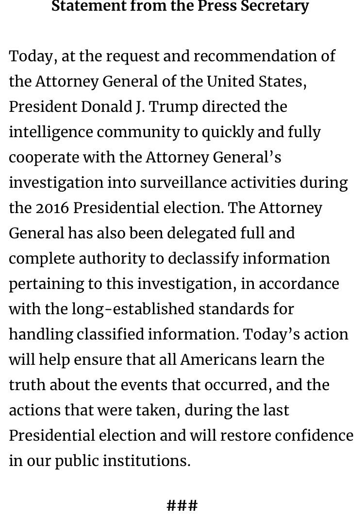 And so it begins. The president has ordered a federal investigation into his perceived political adversaries.