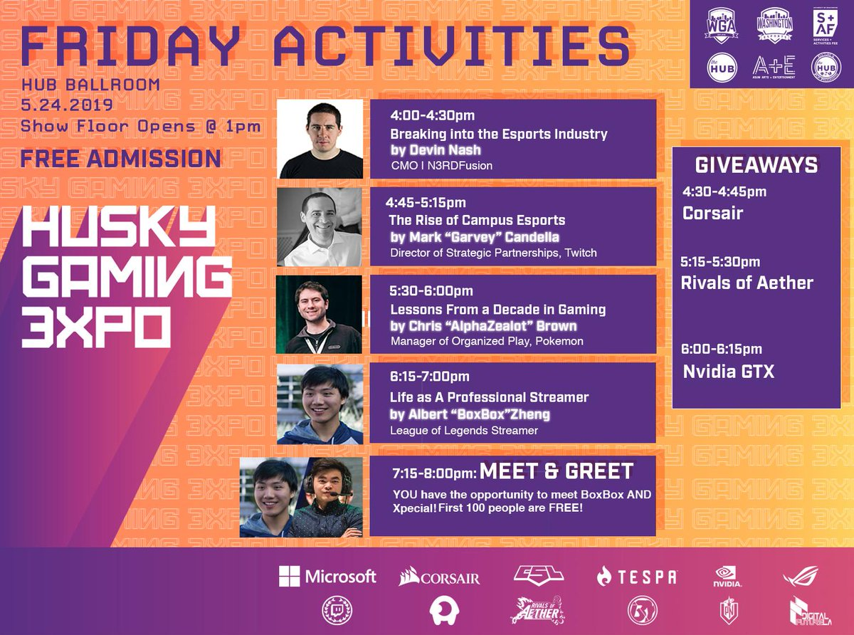 ICMYI: Here's the final schedule of activities for both days of #HGE2019 feat. @Xpecial, @BoxBox, @LilyPichu, @THEalbertchang, @clg_pewpewu, @snoopeh, @axeltoss and more!   Please be reminded that the showfloor opens at 1PM on Friday and 11AM on Saturday.  See y'all at #HGE2019!