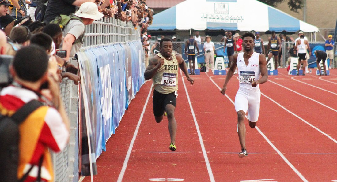 Jonte Baker will race for the 100m title on Saturday after finishing second in prelims with a time of 10.22!  #TUDragons | @TiffinXCTF<br>http://pic.twitter.com/0FY8eZuI90
