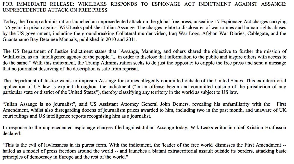 Julian Assange Charged Under The Espionage Act On 17 Counts plus more D7SvbhKWsAIBdFm