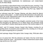 WIKILEAKS RESPONDS TO ESPIONAGE ACT INDICTMENT AGAINST ASSANGE: UNPRECEDENTED ATTACK ON FREE PRESS