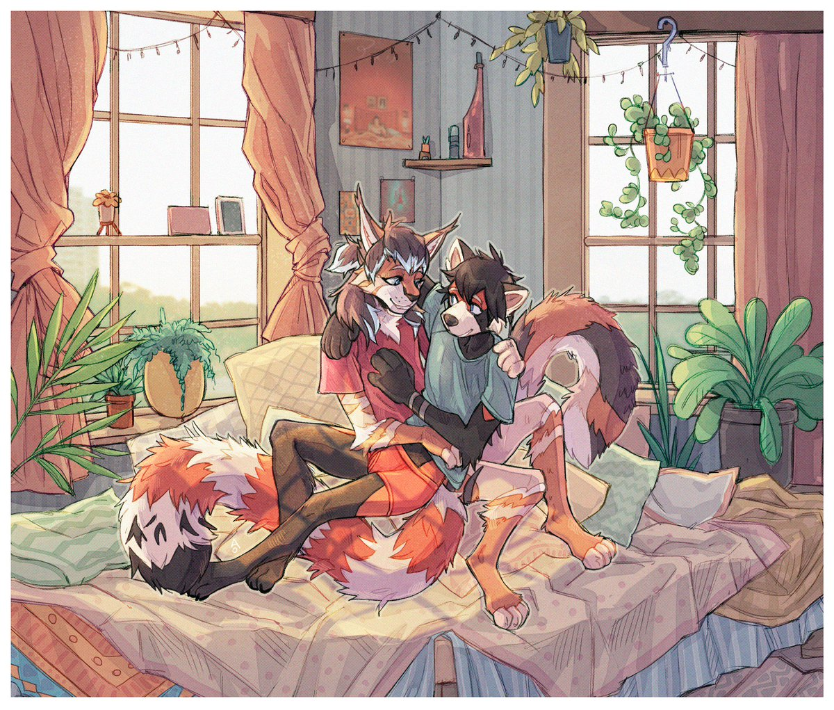 Here is a big piece commissioned by @knifelicker  I looove drawing cozy interiors with a lot of plants!   #furry #furryart<br>http://pic.twitter.com/Jo1sqlWbx3