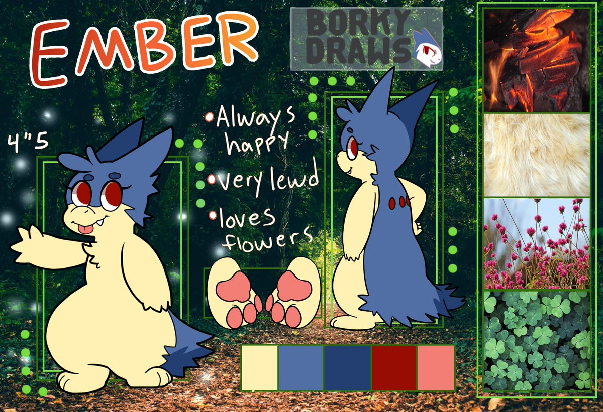 So I finally gave my girl Ember the ref sheet she deserves!  ;w;  I tried to give it a deep forest with flowers mood, which fits her personality.  I also like the aesthetic bars that I see sometime so I figured I'd add that too!   We've come a long way from 'Ask Ember's ;w;