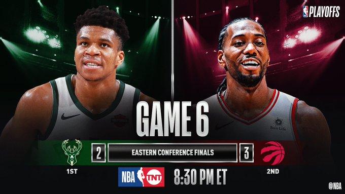 SATURDAY'S #NBAPlayoffs CLASH!  8:30pm/et: (1) MIL 2-3 (2) TOR, T