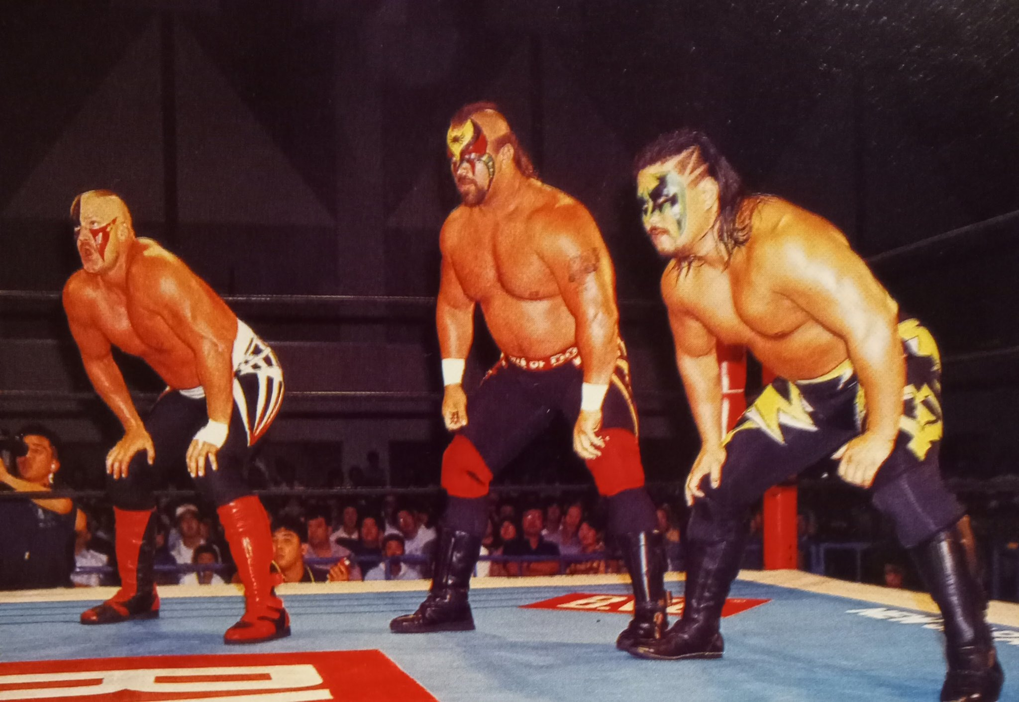 """Rasslin' History 101 on Twitter: """"After leaving WCW,The Road Warriors teamed up with """"Power Warrior"""" Kensuke Sasaki all throughout 1996 for New Japan Pro Wrestling.Hawk,Animal and Sasaki won a huge percentage of"""