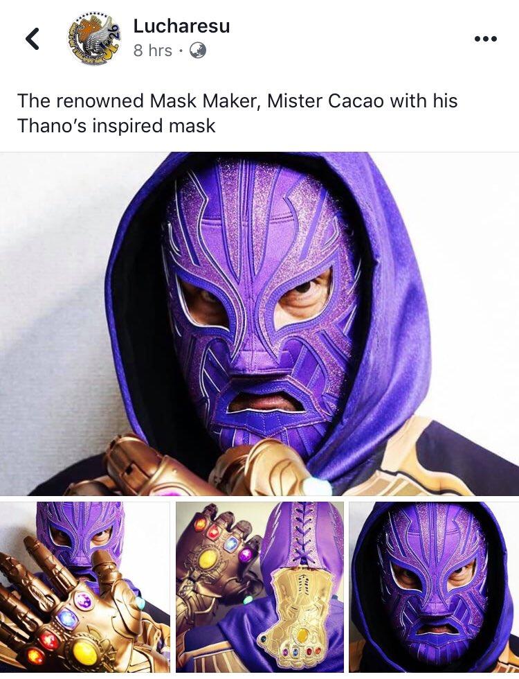 Luchador & mask maker Mister Cacao, dengan topeng yang terinspirasi Thanos berikut Infinity Gauntlet. THANOS MASK THANOS MASK