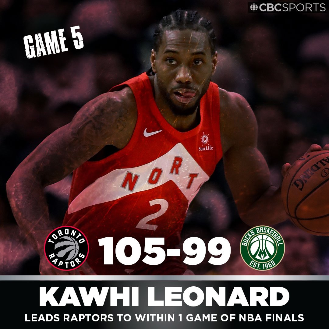 Raptors are a win away from the #NBAFinals after dumping Bucks in Milwaukee  http:// cbc.ca/1.5145551  &nbsp;   #WeTheNorth <br>http://pic.twitter.com/VDdwfzDEU9