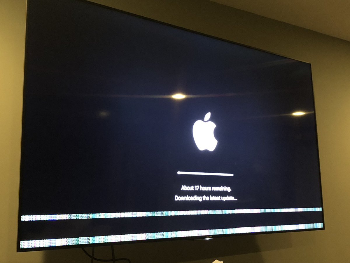 Might have to sell my $AAPL stock tomorrow. Has this ever happened to anyone? I can't get these lines at the bottom of the screen to go away on my Apple 4kTV. They look like a Nintendo NES. I tried doing a reset and it said it was gonna take 21 hours lol @AppleSupport<br>http://pic.twitter.com/PCBS3cf8Cx
