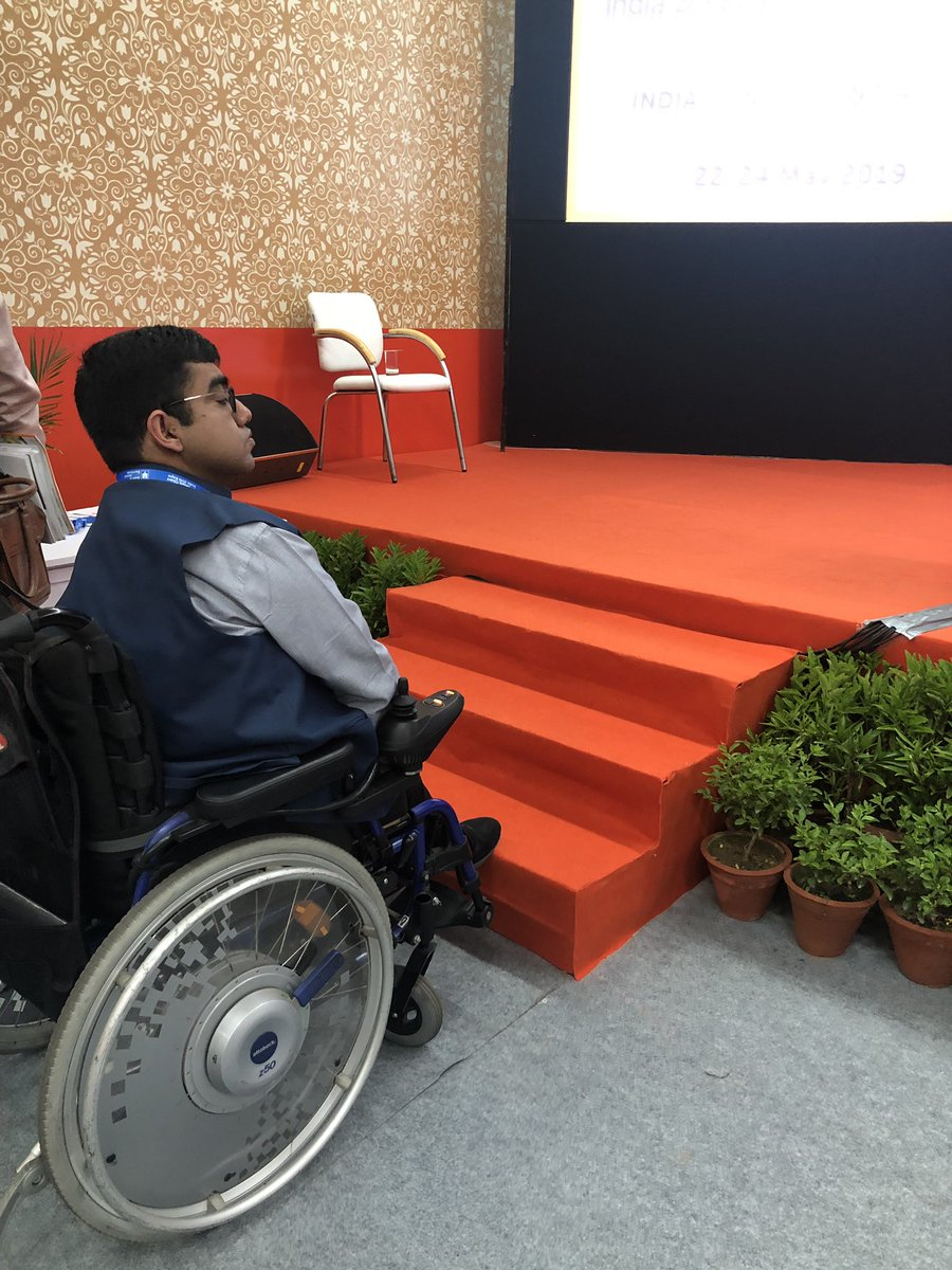 Ironic...No ramp at a smart city panel. I was invited to speak on accessibility but it was a struggle to get on to the stage