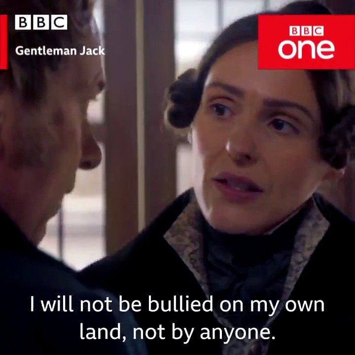 """""""Have you ever kissed anyone?"""" """"No...""""  #GentlemanJack continues Sunday on BBC One and BBC iPlayer."""