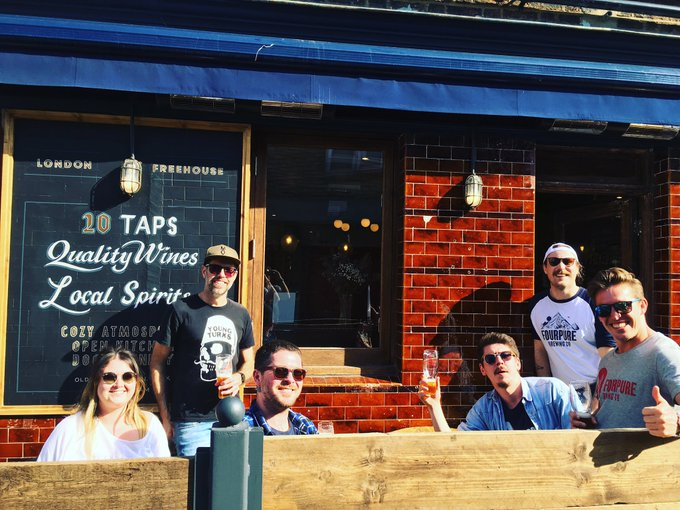 Image for Our Fourpure crew sure do look happy in this photo. It might be because the sun's out, or it might be because they have a pint of Easy Peeler each. If we were a betting brewery, we'd put money on it's both ???? ☀️ #oldtowntavern #Clapham https://t.co/AkB9