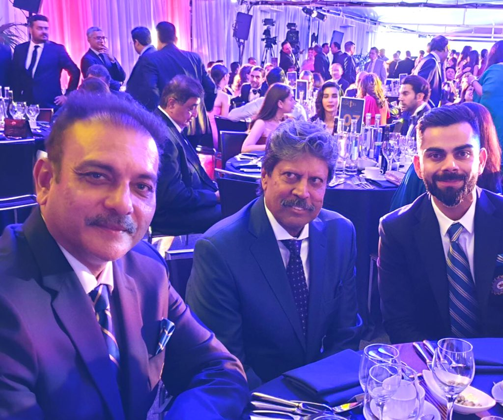 About last night - with @cricketworldcup 1983 winning skipper @therealkapildev & #TeamIndia captain @imVkohli #CWC19