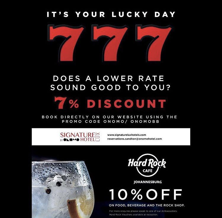 TGIF! Get 7% off your rate and 10% off Hard Rock Café when you use the promo code ONOMO/ ONOMOBB and book your stay at https://bit.ly/2J7r247. #signaturelux #hotels #business #travel #meetings #jozi #sandton #traveller #wifi