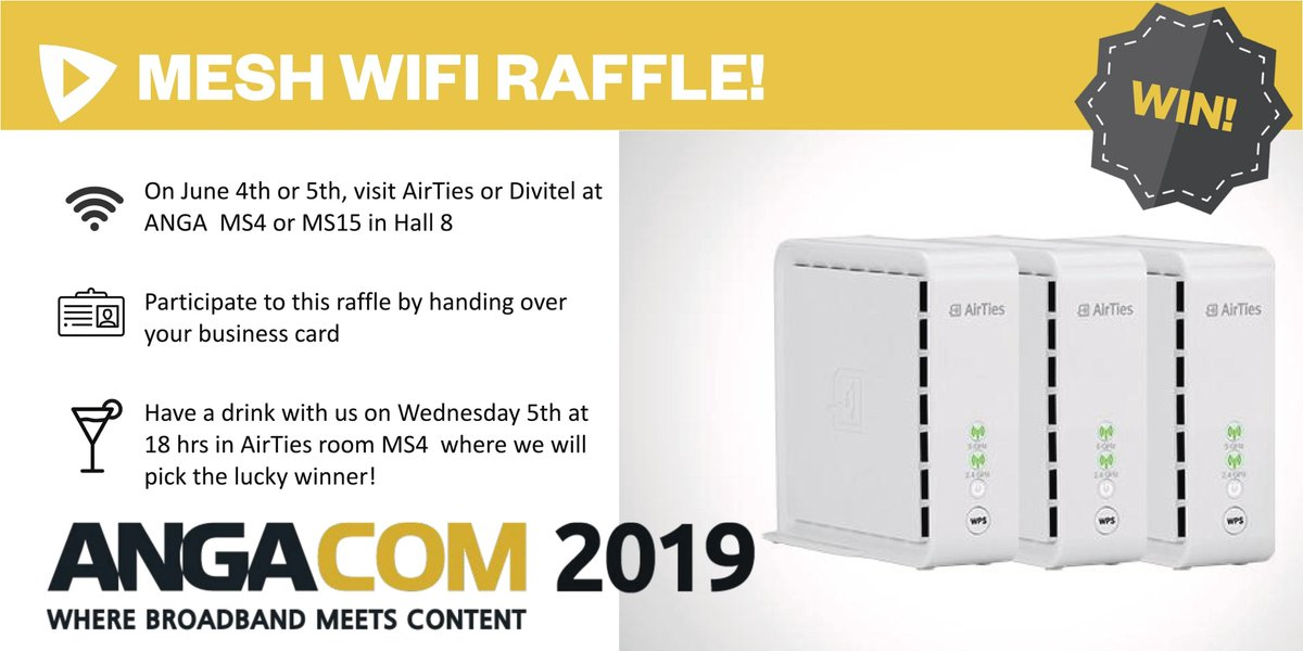 During #angacom we will be giving away one @AirTies Mesh WiFi set! Don't miss your chance to win! Meet us at MS4 or MS15 to participate! Good luck! https://divitel.com/meet-us-at-anga-com-2019/… #wifi #mesh #wirelessnetworks