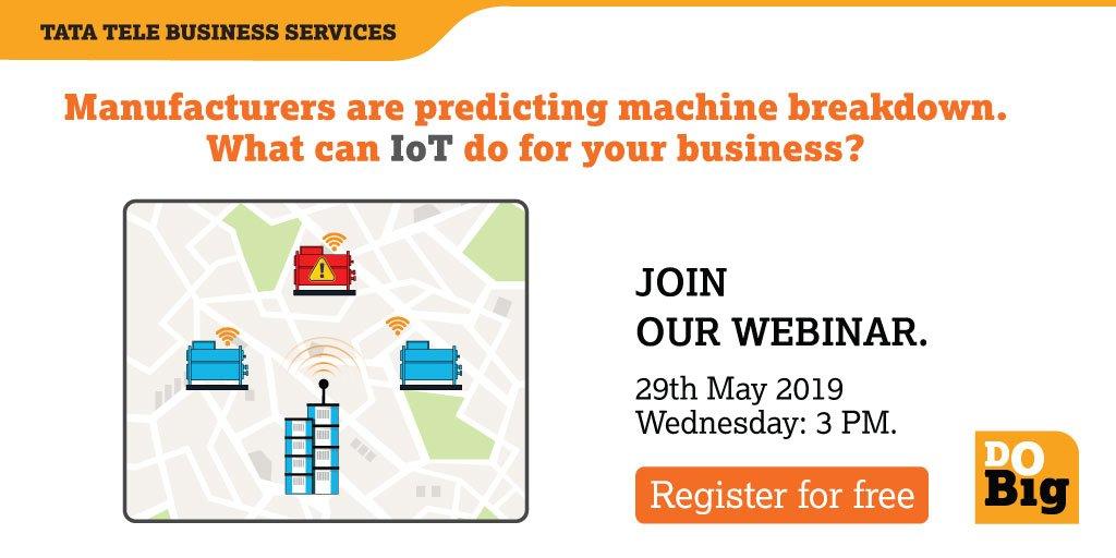 An upcoming webinar by Omkar Malage, Frost & Sullivan on how #IoT enabled solutions can identify #machine breakdown beforehand.  Register for FREE now! https://bit.ly/2VPvui7  #TimeToDoBig #DoBig #TTBS #Tech #Webinar #SME #Startups #Internet #5G #Wifi #InternetofThings