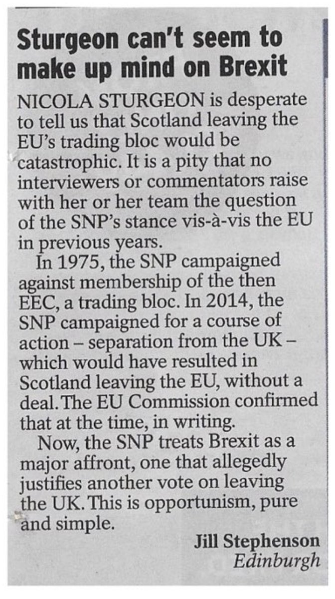 Spot on from @2351onthelist in Yesterday's Express re @thesnp and their hypocrisy on the EU #indyref2? 😏