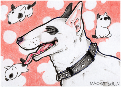 Some ArtTrade I did a time ago. I LOVE (!!!) bull terrier so much so I was really happy to draw them.  #aceo #bullterrier <br>http://pic.twitter.com/NPyDQrNNCr