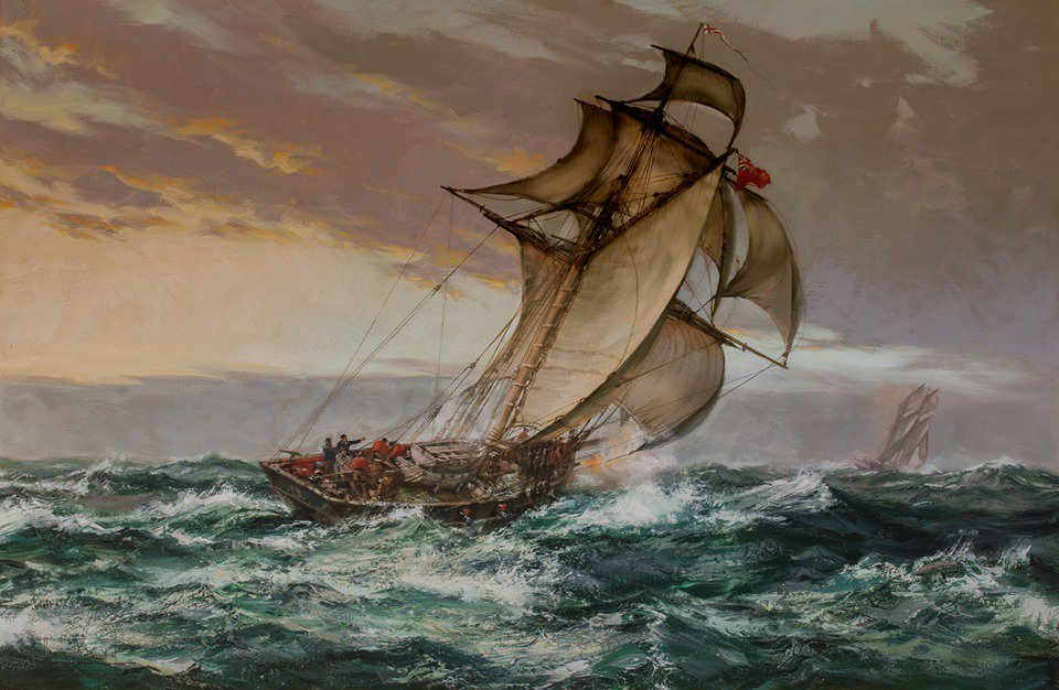 «Dawn Suspect, Revenue Cutter &#39;Kite&#39; Chasing a Smuggler» by British artist Montague Dawson  #Maritime #RoyalNavy<br>http://pic.twitter.com/xsqWAOGPHW