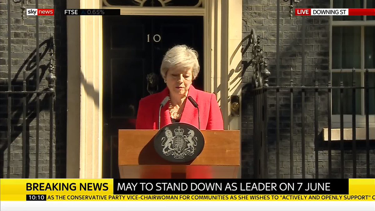 "Theresa May's voice breaks as she ends her resignation speech.   She says: ""I will shortly leave the job that it has been the honour of my life to hold. The second female prime minister, but certainly not the last.""  Get live updates here: http://po.st/aUY3OV"
