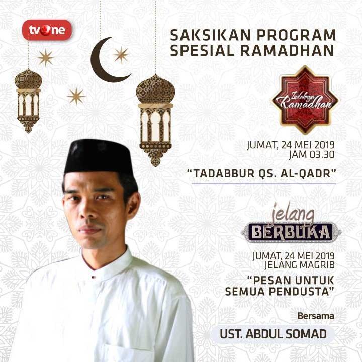 Saksikan program spesial Ramadhan Jumat, 24 Mei 2019. Indahnya Ramadhan pukul 03.30 WIB & Jelang Berbuka menjelang maghrib di tvOne connect, android http://bit.ly/2EMxVdm & ios http://apple.co/2CPK6U3. #RamadhanditvOne